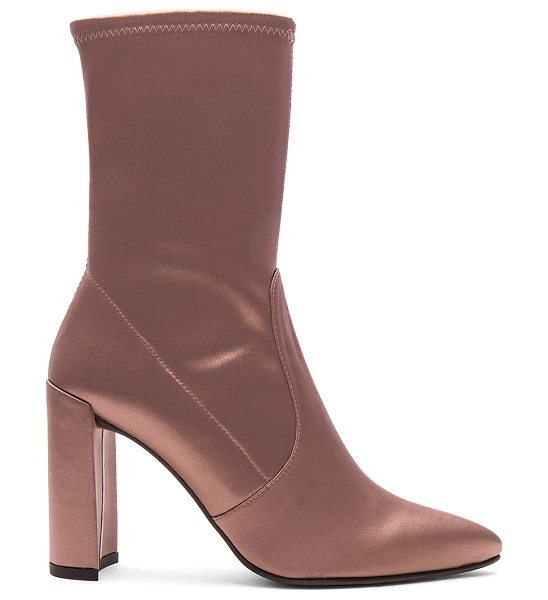 Stuart Weitzman Clinger Bootie in old rose - Satin textile upper with leather sole. Pull on styling....