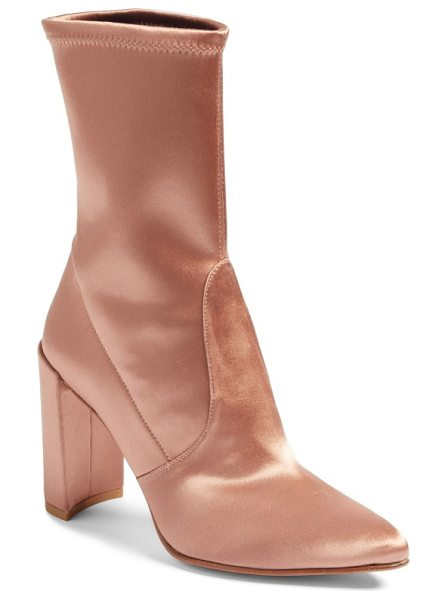 Stuart Weitzman clinger stretch bootie in adobe stretch satin - A stretch-knit shaft that fits like a glove makes this...