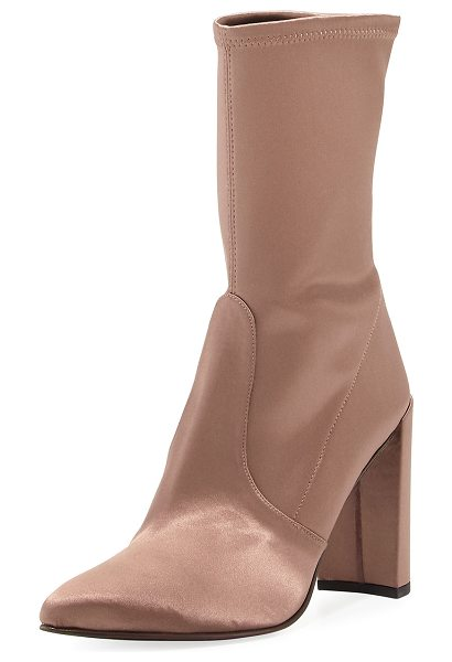 Stuart Weitzman Clinger Stretch-Satin Mid-Calf Boot in old rose