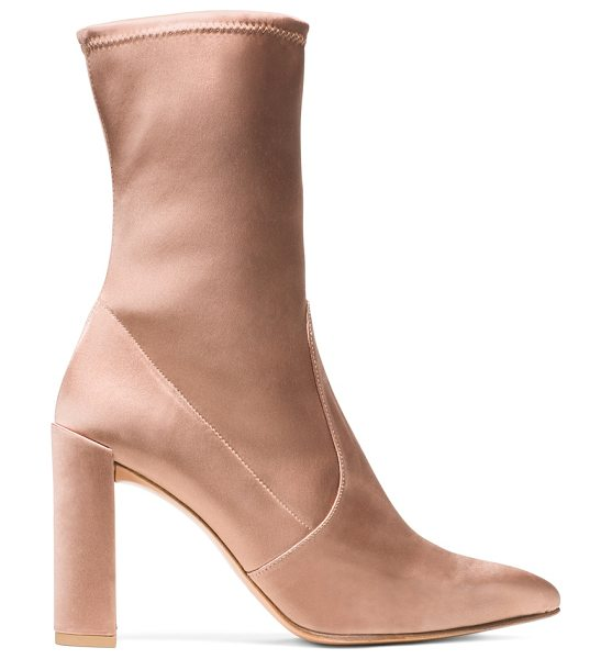 Stuart Weitzman Clinger in adobe stretch satin - This season's spin on the fashion-forward stocking boot...