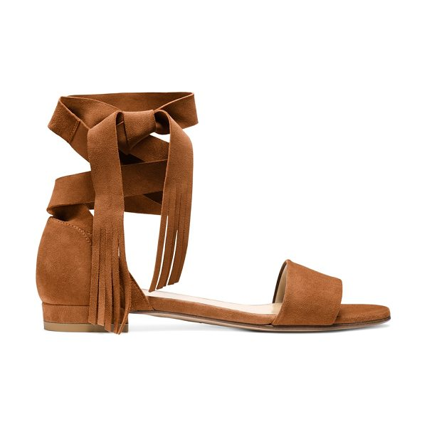 Stuart Weitzman Corbata in saddle suede - Sumptuous suede elevates these ankle-wrap sandals, and...