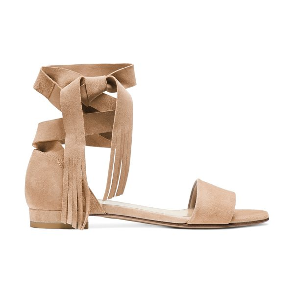 Stuart Weitzman Corbata in mojave beige suede - Sumptuous suede elevates these ankle-wrap sandals, and...