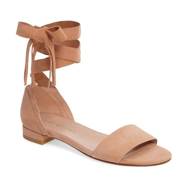 Stuart Weitzman corbata sandal in naked suede - Lavish suede and fringe-tipped ankle ties take a...