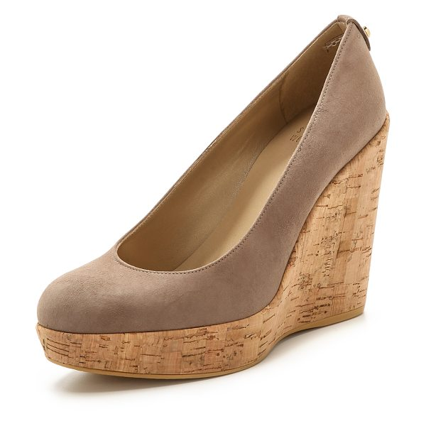 Stuart Weitzman Corkswoon cork wedge pumps in haze - A substantial cork platform wedge lends effortless lift...