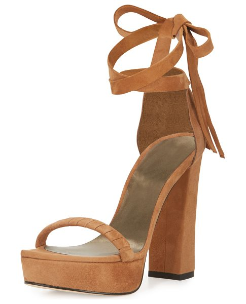 Stuart Weitzman Craft Suede Lace-Up Platform Sandal in toffee - ONLYATNM Only Here. Only Ours. Exclusively for You....
