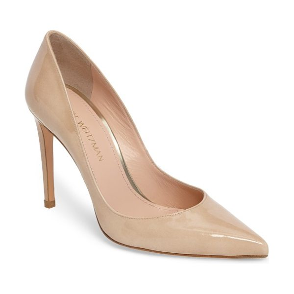 Stuart Weitzman curvia pump in bambina aniline - A timeless closet staple, this sleek pointy-toe pump is...