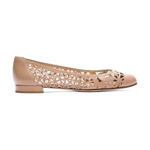 STUART WEITZMAN Cutdown in beige nappa leather - This new-season spin on ballet flats makes the cut with...