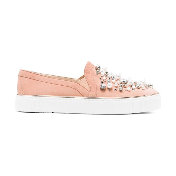 Stuart Weitzman Decor in naked pink beige suede - Sport-luxe slip-on sneakers get glam. Choose from...