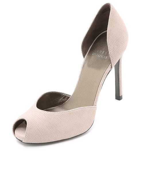 Stuart Weitzman Divorcee dorsay pumps in fawn - Glossy coating over matte suede lends unique texture to...