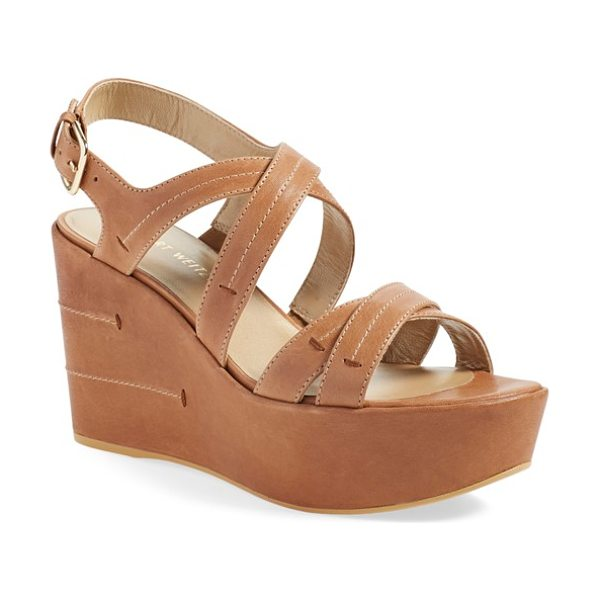 Stuart Weitzman doublexing wedge sandal in adobe vecchio - Meticulous topstitching adds subtle texture to a chic...