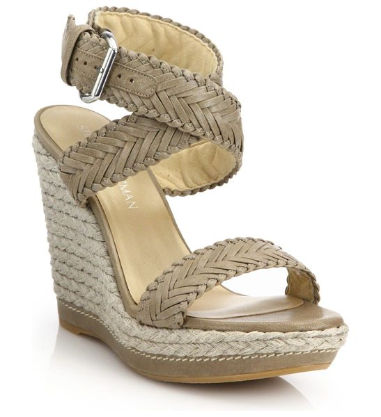 Stuart Weitzman elixir braided leather & jute wedge sandals in beige - Braided leather and jute trim texture wedge. Jute wedge...
