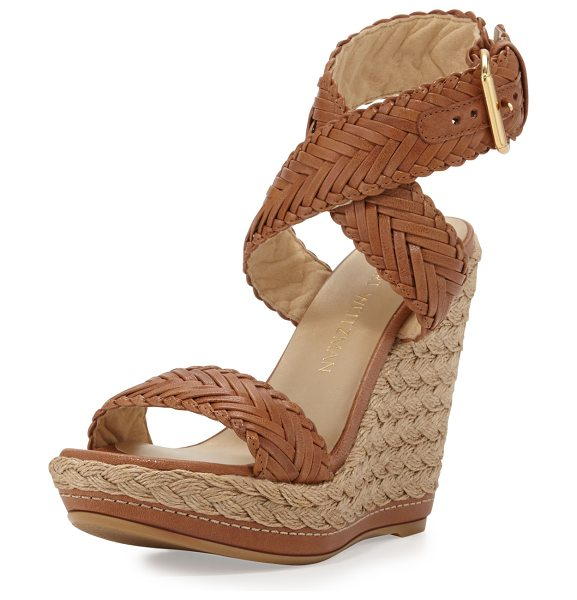 "STUART WEITZMAN Elixir Braided Leather Wedge Sandal - Stuart Weitzman braided vecchio napa leather sandal. 5""..."