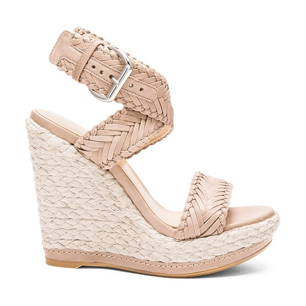 Stuart Weitzman Elixir Heel in taupe - Woven leather upper with rubber sole. Wrap ankle with...