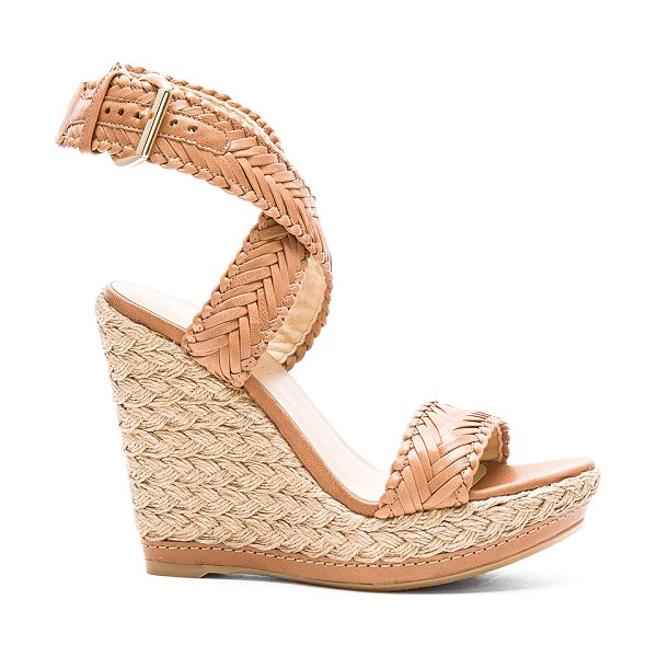 Stuart Weitzman Elixir wedge in brown - Woven leather upper with rubber sole. Jute trim. Wrap...