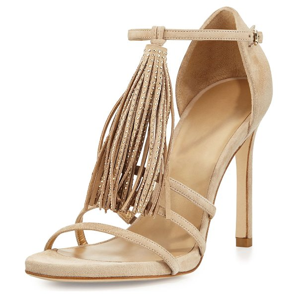 Stuart Weitzman Frabtional Suede Tassel Sandal in beach - ONLYATNM Only Here. Only Ours. Exclusively for You....