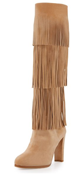 STUART WEITZMAN Fringie Fringe Suede Knee Boot - Stuart Weitzman suede tall boot with tiered fringe trim....