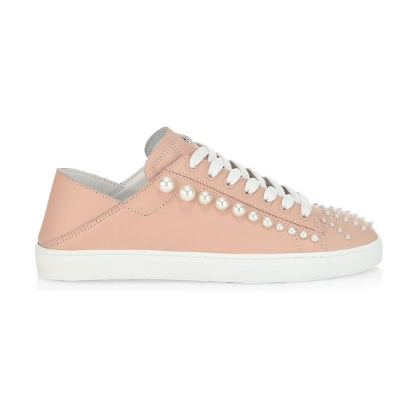Stuart Weitzman goldie embellished leather sneakers in poudre