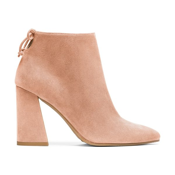 Stuart Weitzman Grandiose in naked pink beige suede - These Mod-inspired booties boast a bold, flared block...