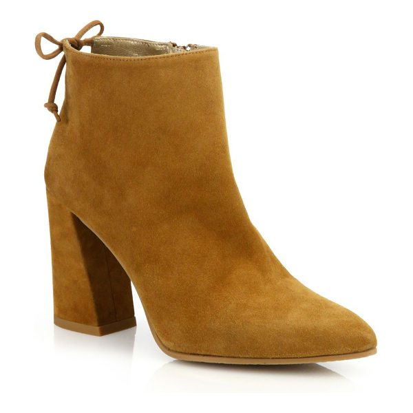 Stuart Weitzman grandiose back-tie suede block heel booties in camel - Angular block heel elevates suede bootie with tie...