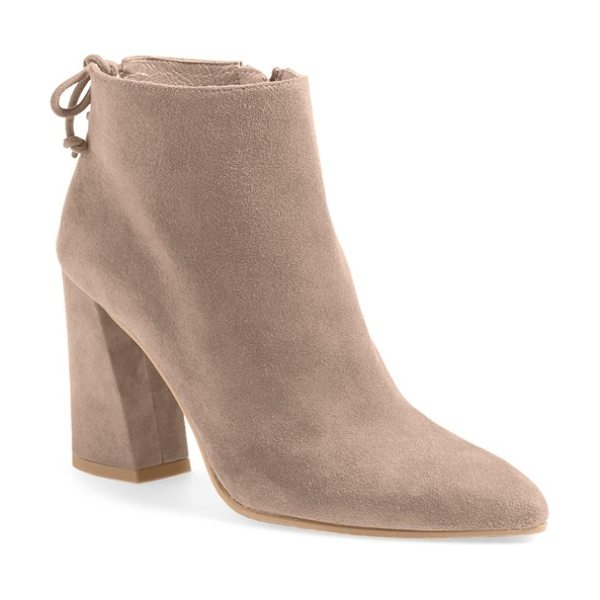 Stuart Weitzman grandiose pointy toe boot in haze suede - A flirty tie back and angular block heel accent a...