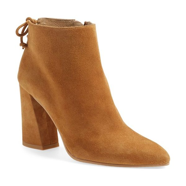 Stuart Weitzman grandiose pointy toe boot in camel suede - A flirty tie back and angular block heel accent a...