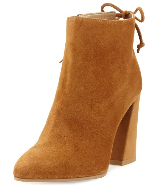 "Stuart Weitzman Grandiose Suede Pointed-Toe Bootie in camel - Stuart Weitzman suede bootie. 3.5"" covered block heel;..."