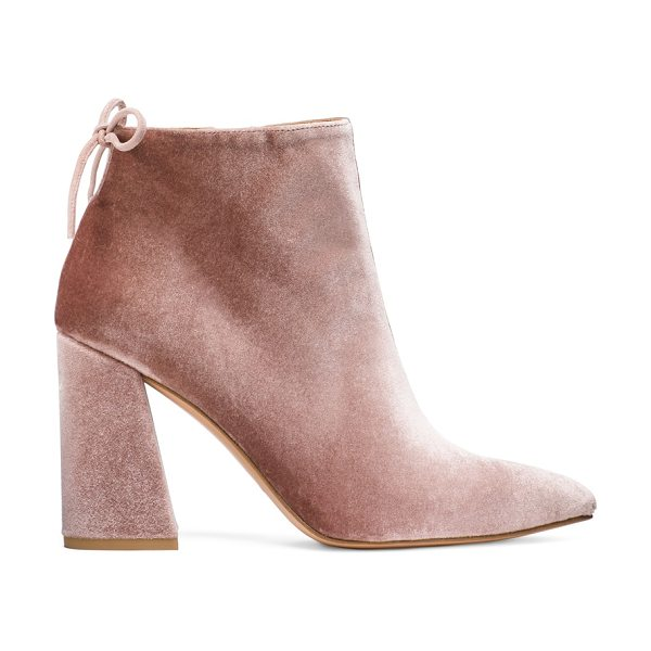 Stuart Weitzman Grandy in candy pink velvet - These Mod-inspired booties boast a flared block heel and...