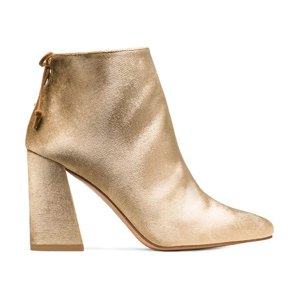 Stuart Weitzman Grandy in gilt gold velvet - These Mod-inspired booties boast a flared block heel and...