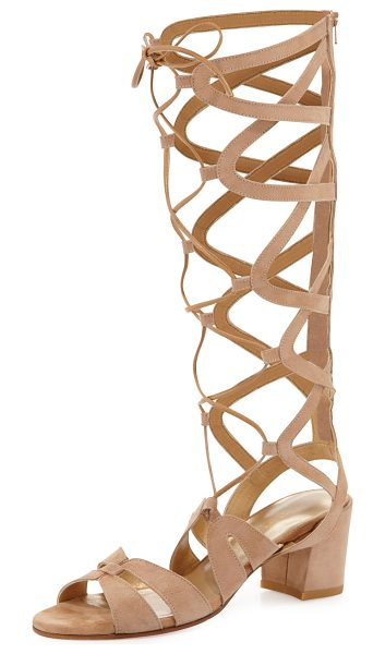 "Stuart Weitzman Grecian Suede Tall Gladiator Sandal in tan/camel - Stuart Weitzman suede gladiator sandal. 2.3"" covered..."