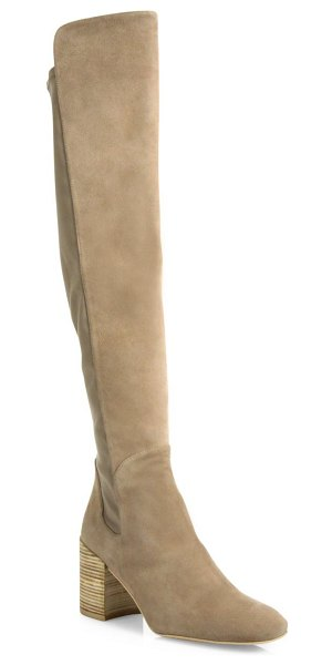 Stuart Weitzman halftime 5050 suede & leather knee-high boots in haze suede - Suede knee-high boot backed with stretchy leather panel....