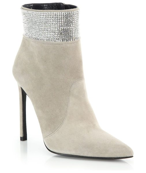 STUART WEITZMAN Highbeam pave crystal & suede booties - A shimmering pave crystal cuff lends palpable glamour to...