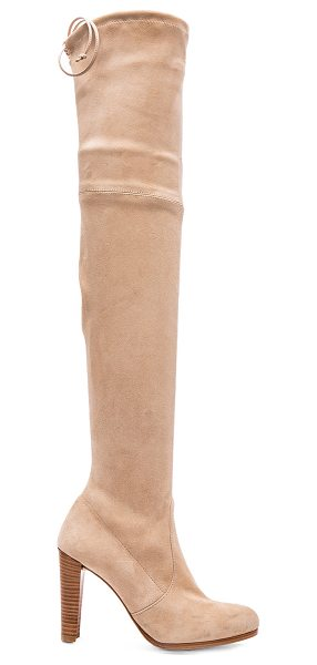 Stuart Weitzman Highland Suede Boots in neutrals - Suede upper with rubber sole.  Made in Spain.  Shaft...