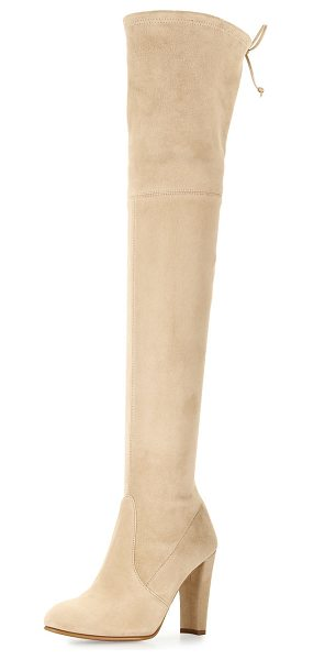 "Stuart Weitzman Highland Suede Over-The-Knee Boot in buff suede - Stuart Weitzman suede over-the-knee boot. 24""H stretch..."
