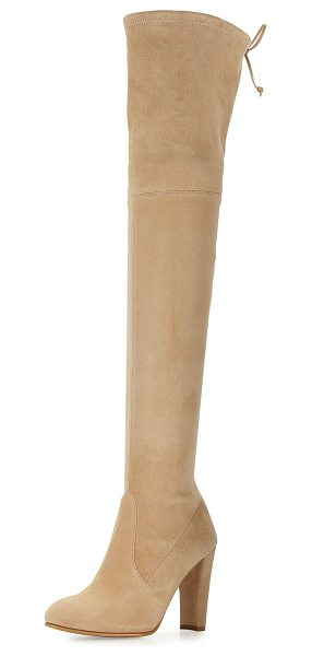 "Stuart Weitzman Highland Suede Over-The-Knee Boot in beach suede - Stuart Weitzman suede over-the-knee boot. 24""H stretch..."