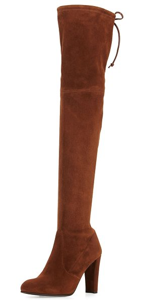 "Stuart Weitzman Highland Suede Over-the-Knee Boot in walnut - Stuart Weitzman suede over-the-knee boot. 24.1""H stretch..."