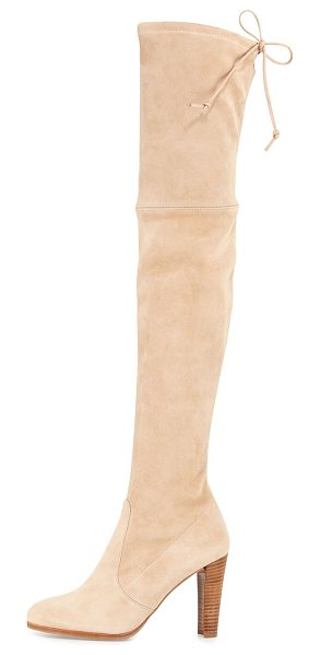 "Stuart Weitzman Highland Suede Over-the-Knee Boot in buff - Stuart Weitzman suede over-the-knee boot. 24""H stretch..."