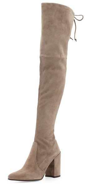 "Stuart Weitzman Highstreet Suede Over-The-Knee Boot in walnut - Stuart Weitzman boot in stretch suede. 24""H stretch..."