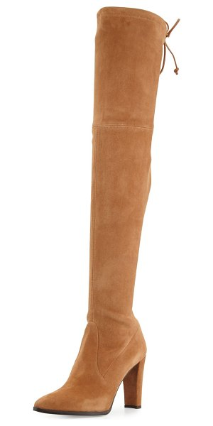 "STUART WEITZMAN Highstreet Suede Over-the-Knee Boot in light brown - Stuart Weitzman boot in stretch suede. 24""H stretch..."