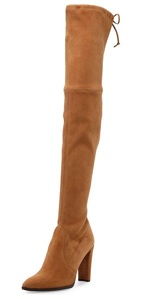 "Stuart Weitzman Highstreet Suede Over-The-Knee Boot in toffee - Stuart Weitzman boot in stretch suede. 23.3""H stretch..."