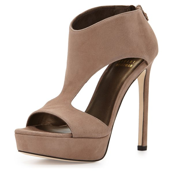 "Stuart Weitzman Hot stuff t-strap sandal in haze - Stuart Weitzman suede sandal. 5"" covered heel; 1. 3""..."