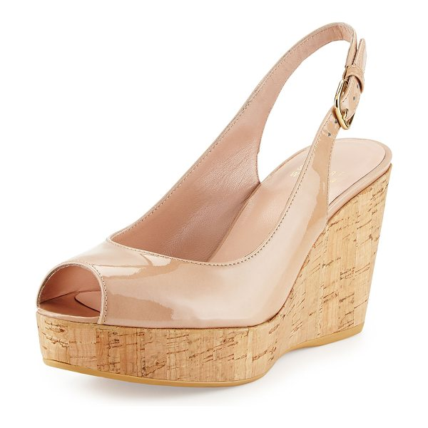 "Stuart Weitzman Jean Patent Peep-Toe Wedge Sandal in adobe - Stuart Weitzman patent leather wedge sandal. 3.3"" cork..."