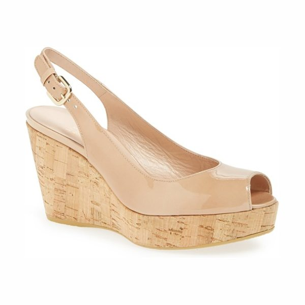 Stuart Weitzman jean wedge in adobe aniline - Stitched trim tops the chunky cork wedge of a slingback...