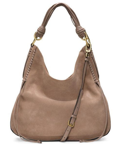 Stuart Weitzman Laela in haze beige suede - This haute hobo style is crafted from supple leather for...