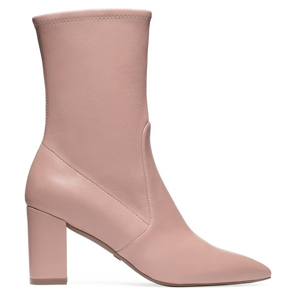 Stuart Weitzman Landry 75 in buff blush stretch nappa leather - The pointed-toe Landry 75 booties. Set on a modern block...