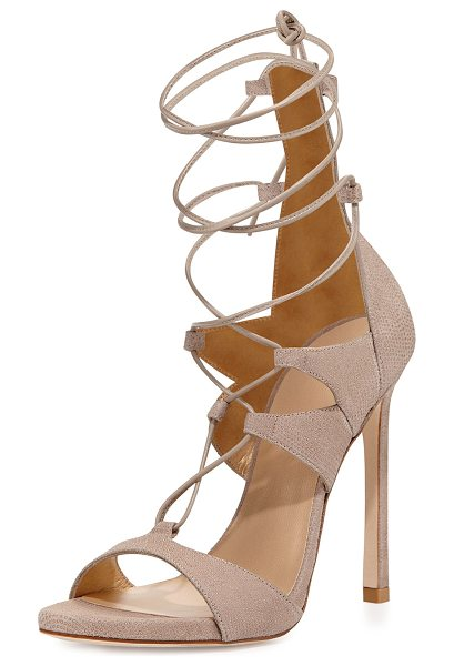 Stuart Weitzman Leg-Wrap Lace-Up Sandal in fawn - Stuart Weitzman lace-up sandal in signature goosebump...