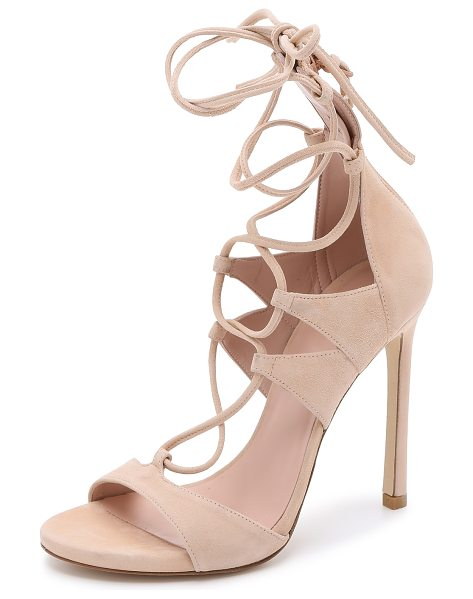 Stuart Weitzman Leg wrap suede sandals in bisque