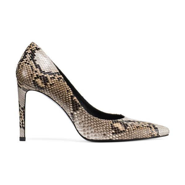 Stuart Weitzman Legend in stone light tan genuine python - The LEGEND pointed-toe pumps are the new classics. Note...