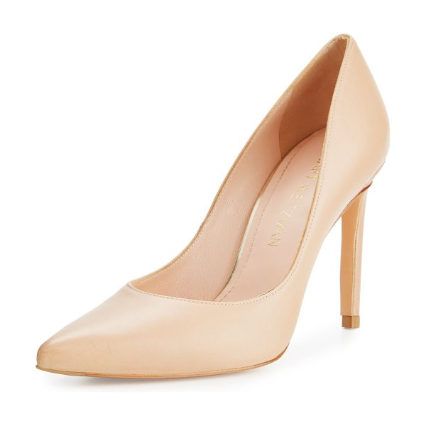 Stuart Weitzman Legend Leather Pointed-Toe Pump in medium beige
