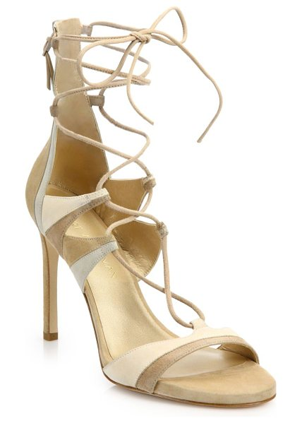 STUART WEITZMAN Legwrap suede lace-up sandals - Stunning lace-up design in neutral suede...