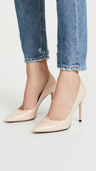 Stuart Weitzman leigh 95mm pumps in cafe - Leather: Calfskin Patent leather Pumps Stiletto heel...